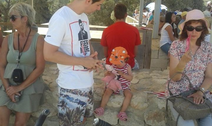 with my daughter in Knossos