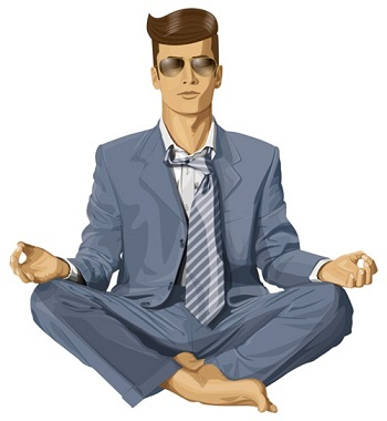 Vector hipster businessman in lotus pose meditati